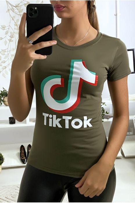 Tee shirt en coton kaki avec écriture TIKTOK