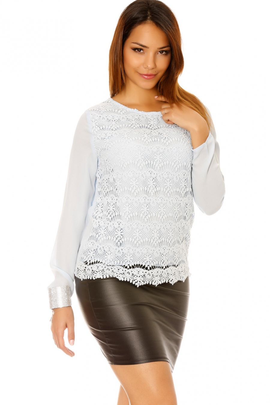 Long sleeve top with lined lace at the front. Women's fashion F6363