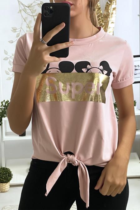 Roze t-shirt met SUPER tekst en strik op de voorkant