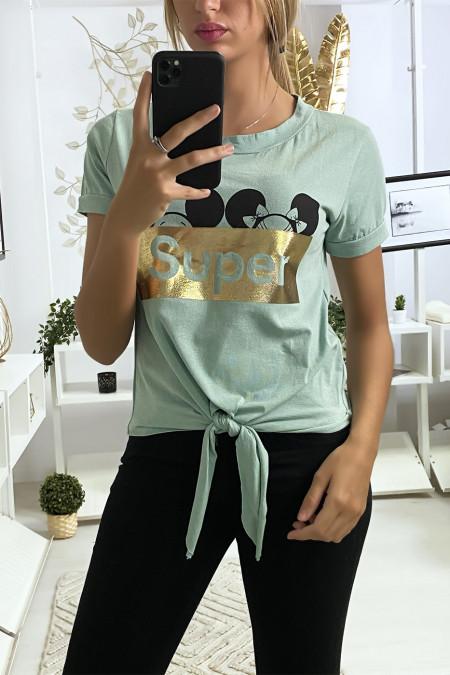 Watergroen t-shirt met SUPER tekst en strik op de voorzijde
