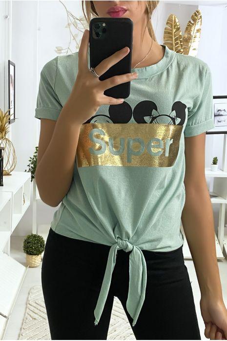 Tee shirt vert d'eau avec écriture SUPER et noeud devant