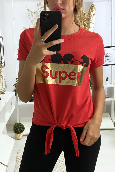 Red t-shirt with SUPER writing and bow on the front