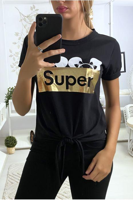 Tee shirt noir avec écriture SUPER et noeud devant