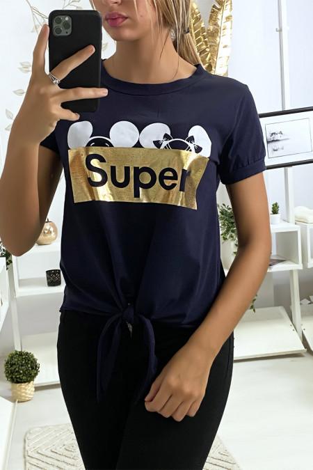 Navy t-shirt met SUPER tekst en strik op de voorzijde