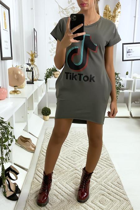 Khaki t-shirt dress with pocket and TIKTOK writing