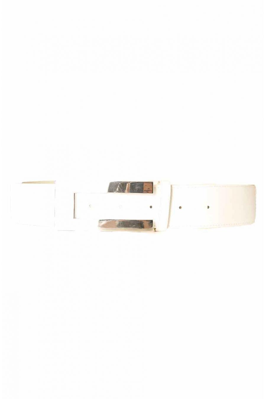 Witte riem met rechthoekige gesp CE 502