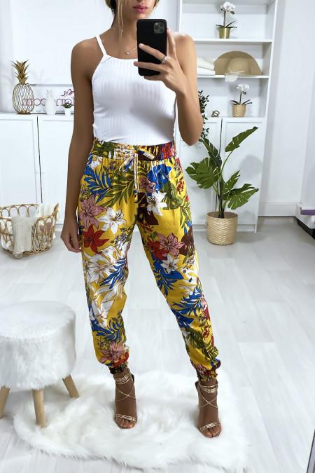 Mosterd katoenen broek met bloemmotief