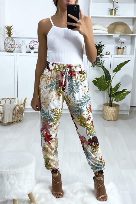 Witte katoenen broek met bloemenpatroon