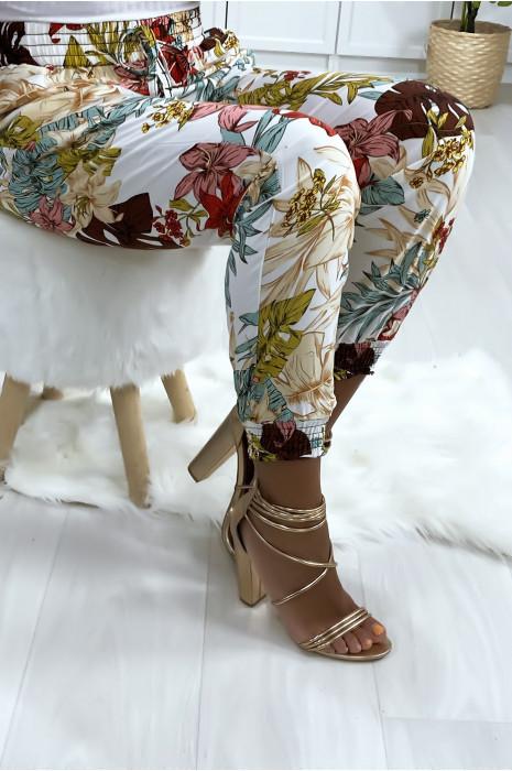 Pantalon blanc en coton avec motif fleuris
