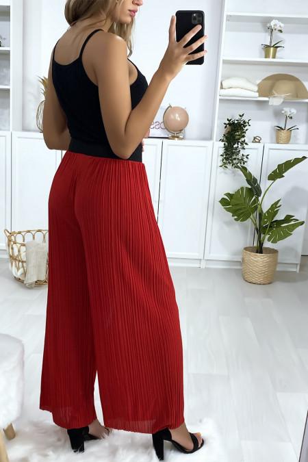 Rode geplooide palazzo broek met zwarte elastische tailleband