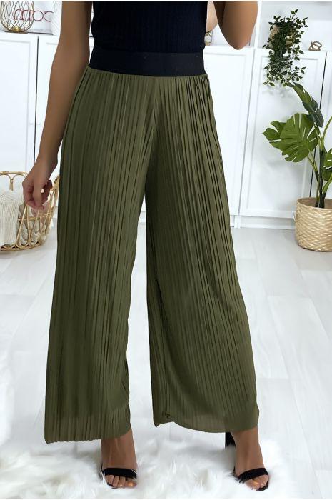 Kaki geplooide palazzo broek met zwarte elastische tailleband