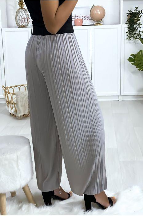 Pantalon palazzo plissé gris avec ceinture élastique noir