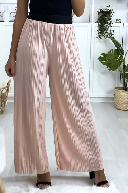 Roze geplooide palazzo broek met zwarte elastische tailleband