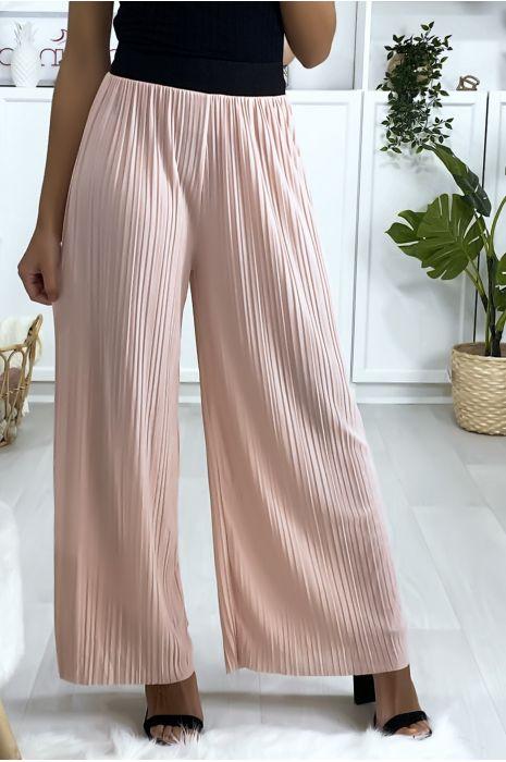Pantalon palazzo plissé rose avec ceinture élastique noir