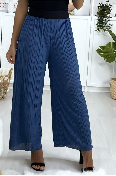 Pantalon palazzo plissé bleu avec ceinture élastique noir