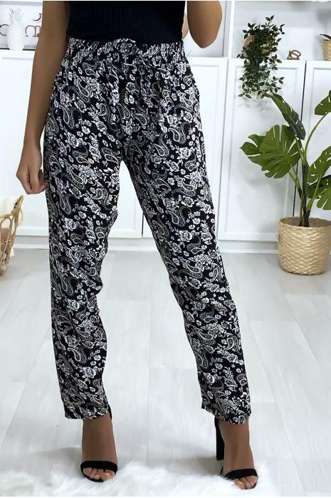 Pantalon en coton à motif noir et blanc avec poche et ceinture
