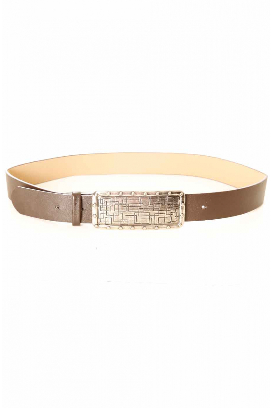 Brown belt with large graphic rectangle buckle CE 573