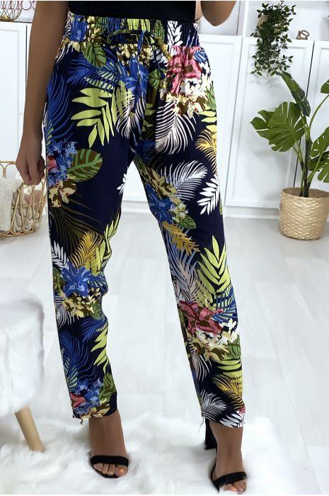 Pantalon fluide en coton à motif marine et royal avec poches