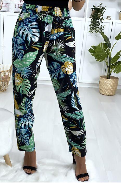 Pantalon fluide en coton à motif noir et vert avec poches