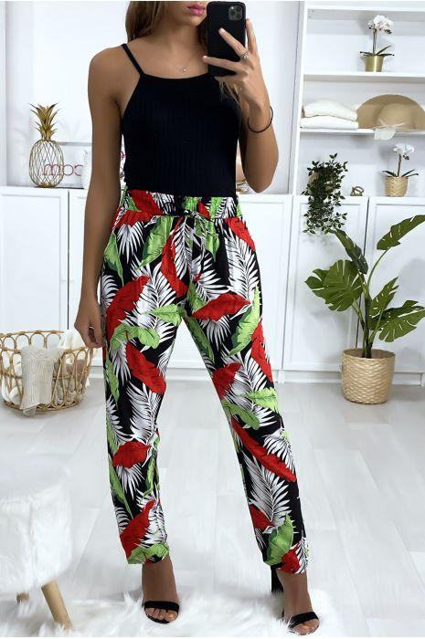 Pantalon fluide en coton à motif noir et rouge avec poches