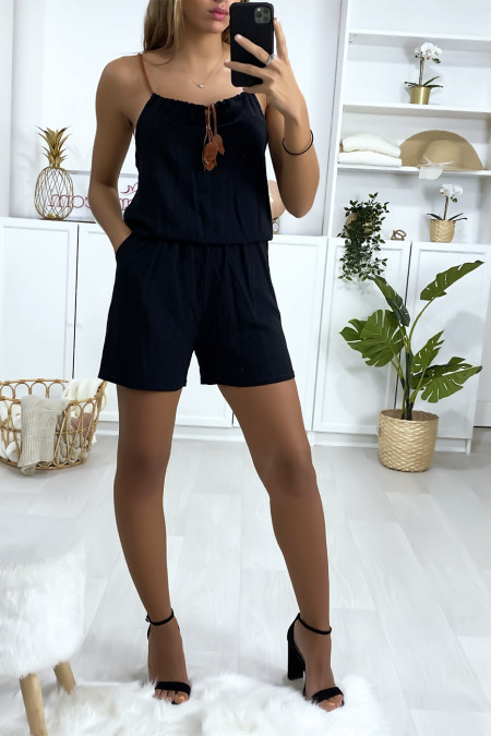 Combi-short noir en coton avec lacet au bretelle et noeud au col