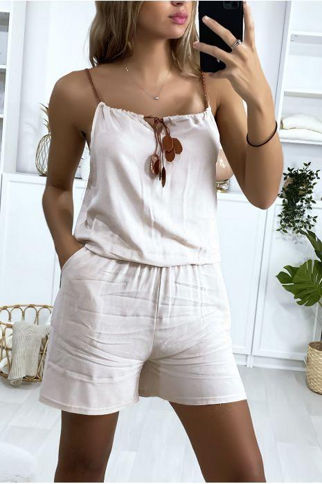 Combi-short beige en coton avec lacet au bretelle et noeud au col