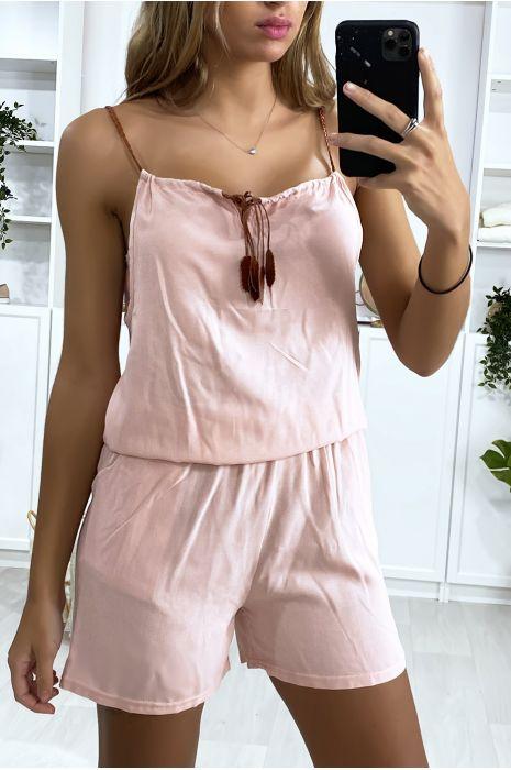 Combi-short rose en coton avec lacet au bretelle et noeud au col