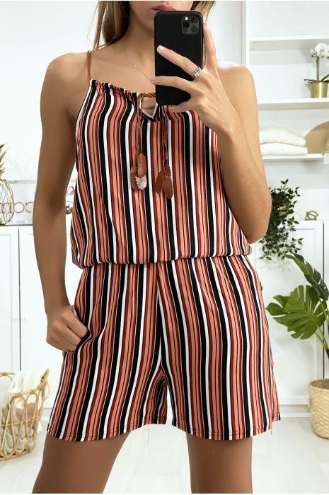 Combi-short rayé rouge noir blanc en coton avec lacet au bretelle