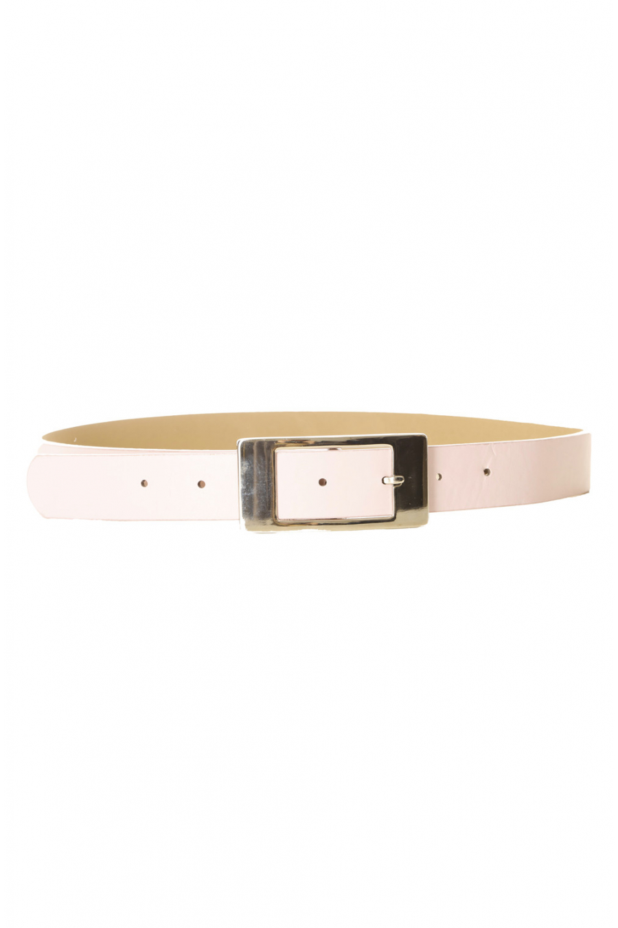 Pink leather-effect belt with square buckle and rhinestones CE 726