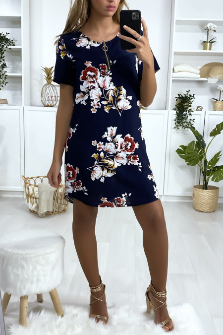 Navy and pink floral tunic dress with zip at the collar