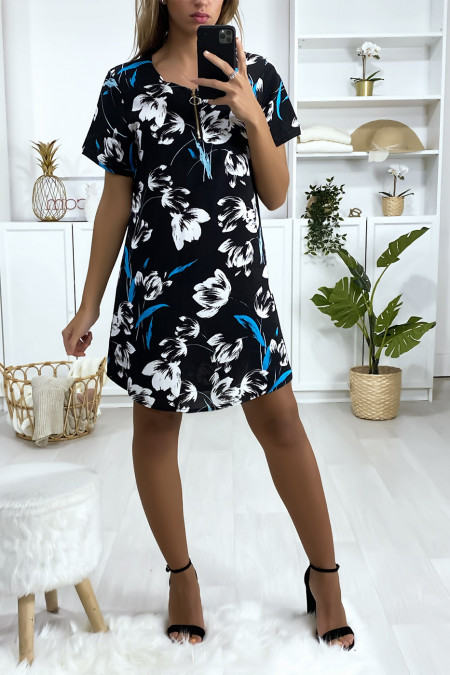 Navy, turquoise and white floral tunic dress with zip at the collar