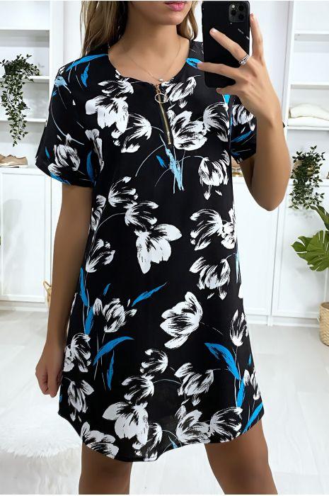 Robe tunique fleuris marine turquoise et blanc avec zip au col