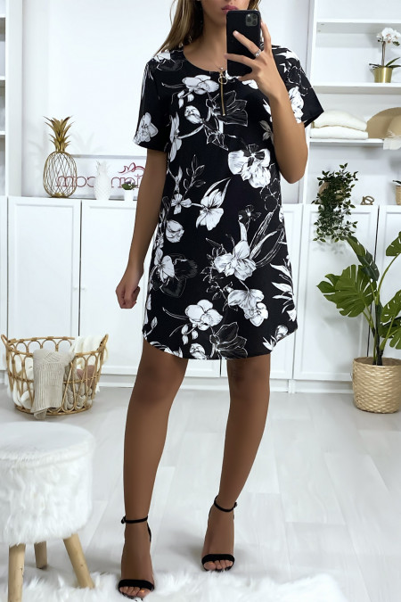 Black, white and gray floral tunic dress with zip at the collar