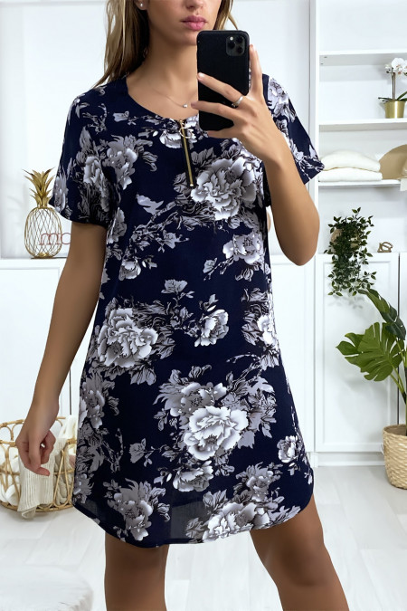 Navy, white and gray floral tunic dress with zip at the collar