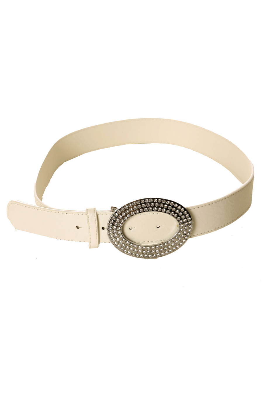 White leather-effect belt with oval buckle and rhinestones CE 724