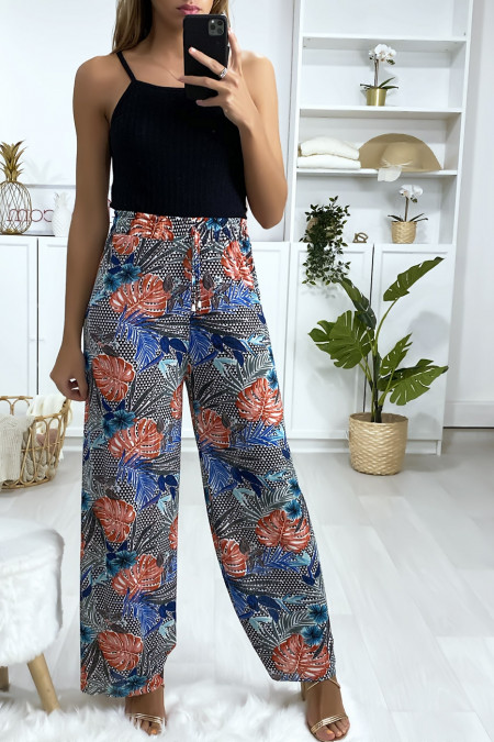 Palazzo pants with leaf pattern in blue