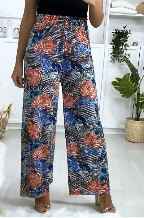 Pantalon palazzo motif feuilles en bleu