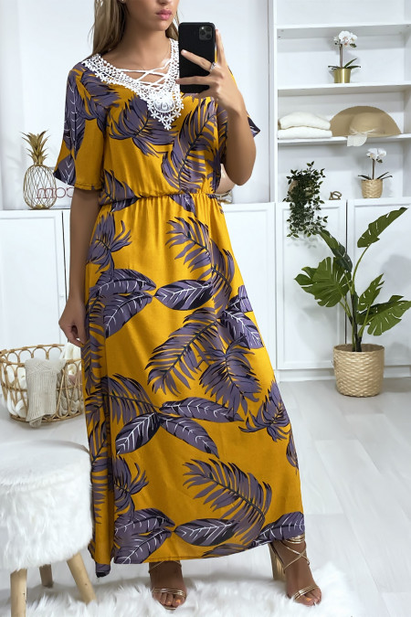 Long mustard leaf print dress with embroidery on the bust