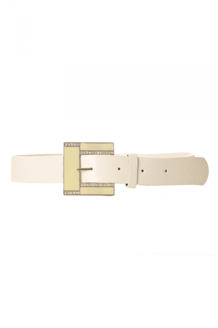 White leather-look belt with square buckle and rhinestones CE 726