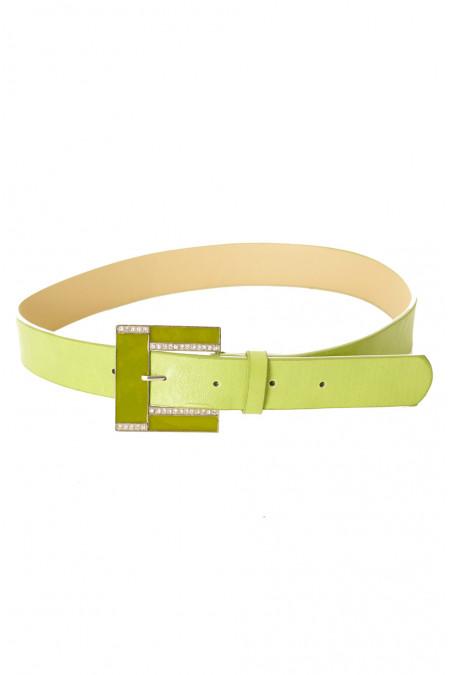 Groene riem met leereffect met vierkante gesp en strass steentjes CE 726