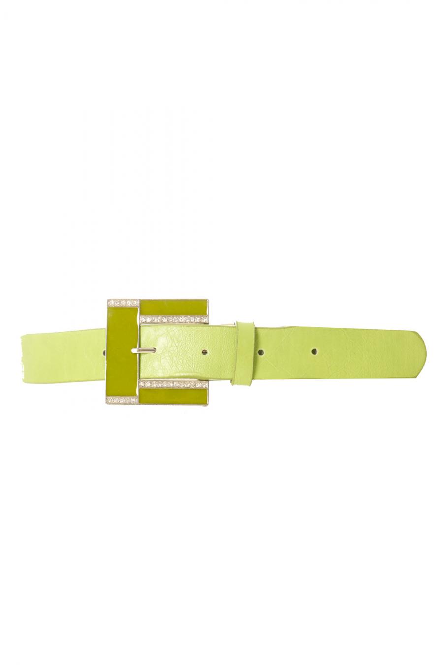 Ceinture Verte effet cuir à boucle carré et strass CE 726