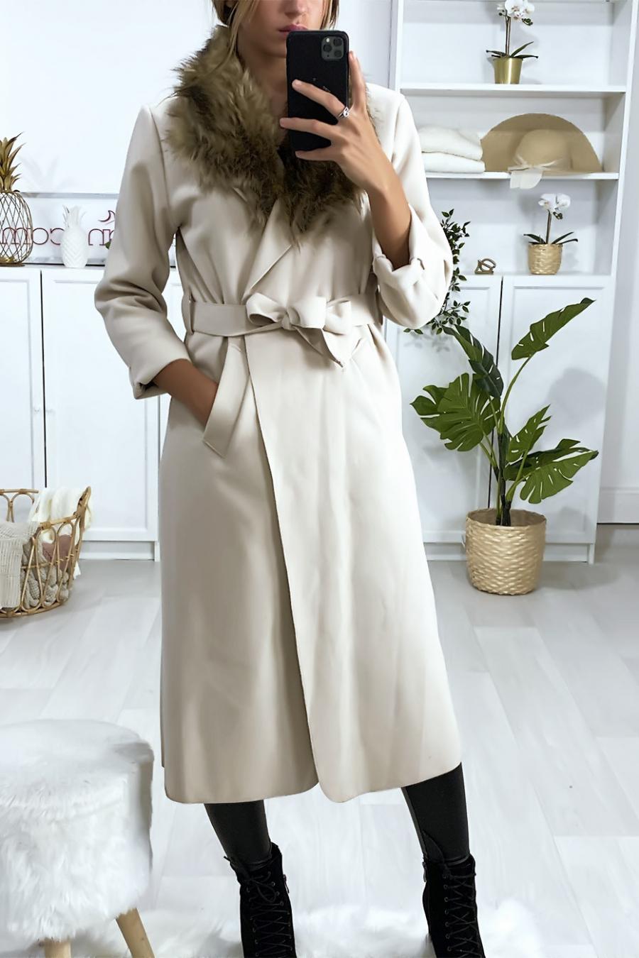 Lange beige jas met synthetisch bont bij de kraag