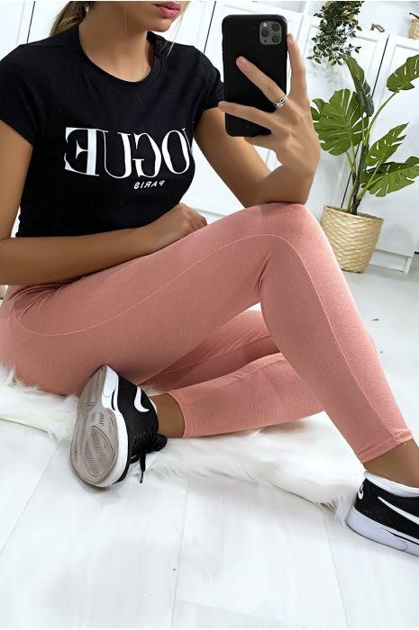 Leggings uni basique couleur rose  .