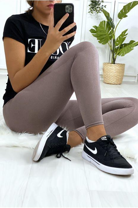 Leggings uni basique couleur gris souris .
