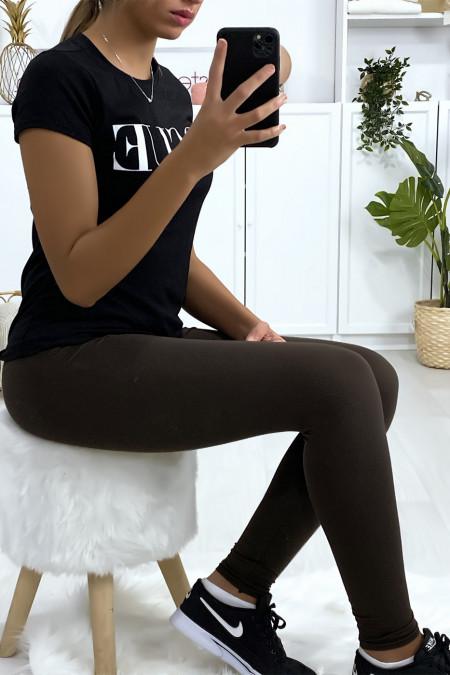 Basic plain chocolate colored leggings