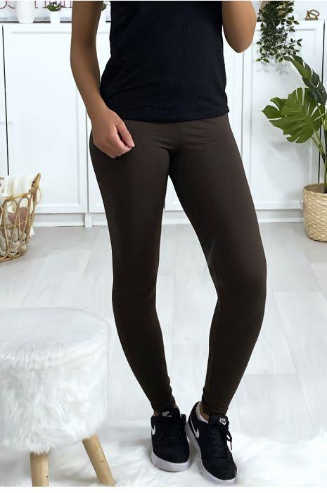 Leggings uni basique couleur choco