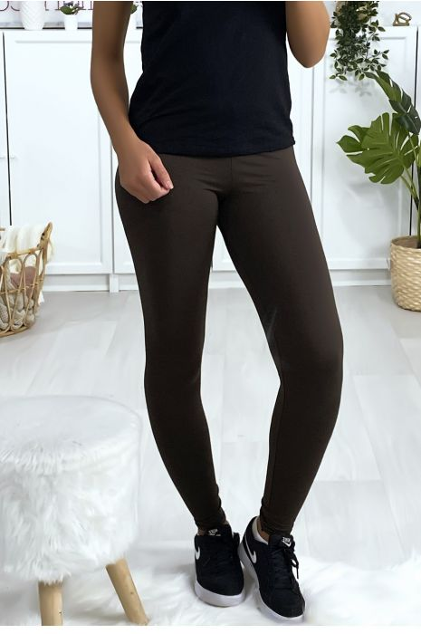 Leggings uni basique couleur choco