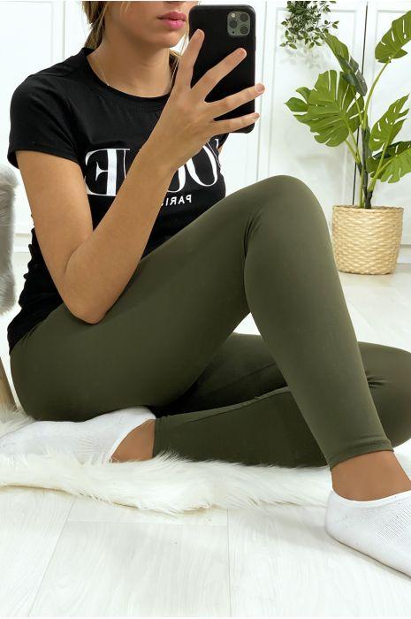 Leggings uni basique couleur kaki
