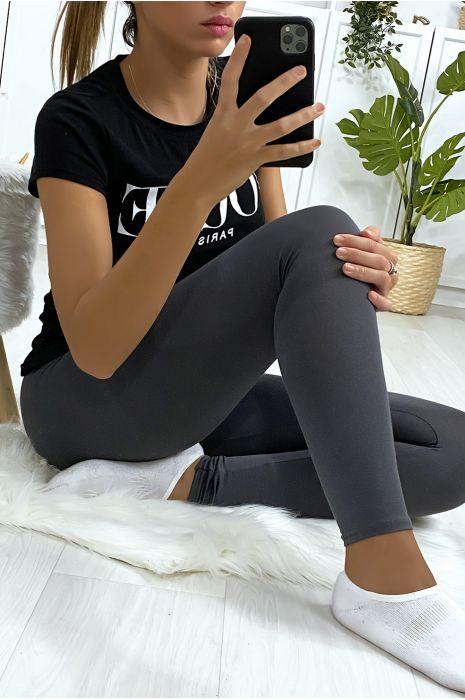 Basic effen antracietkleurige legging