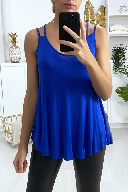 Royal ruffle tank top with double straps